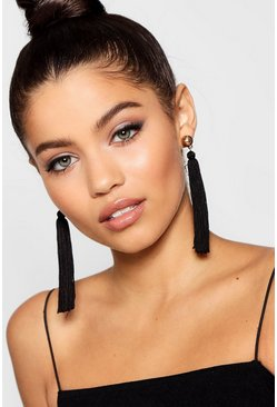 Ball Stud Tassel Earrings, Black