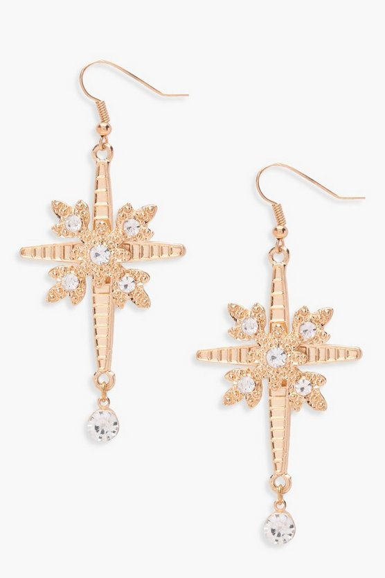 Amy Military Inspired Cross Diamante Earrings
