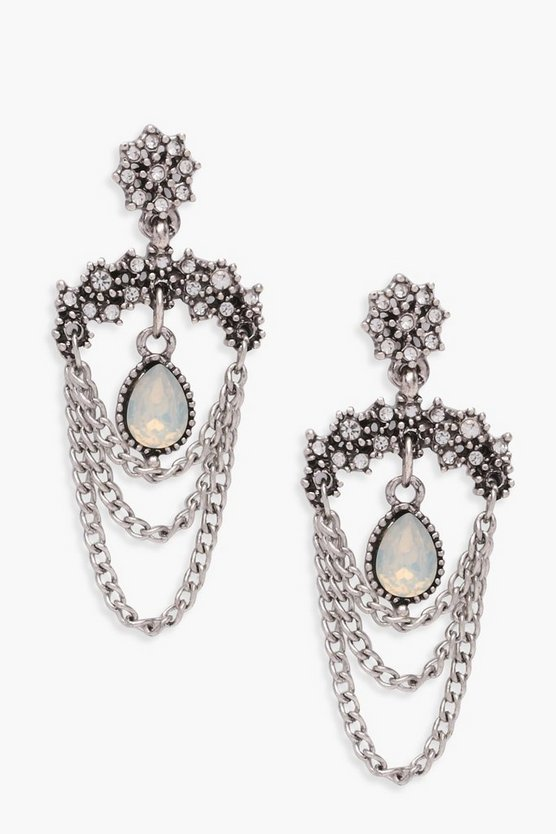 Maisie Chain And Gem Statement Earrings