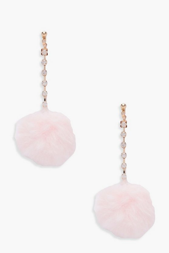 May Diamante Faux Fur Pom Earrings