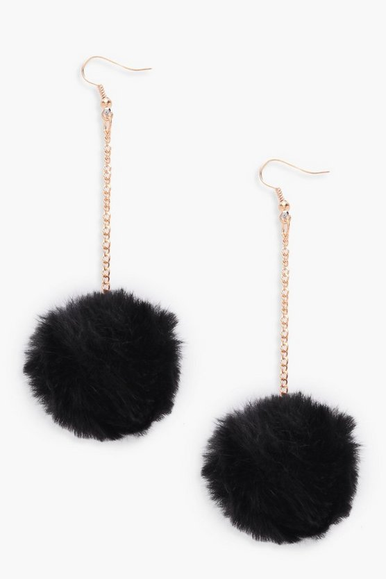 Pom Pom Faux Fur Drop Earrings
