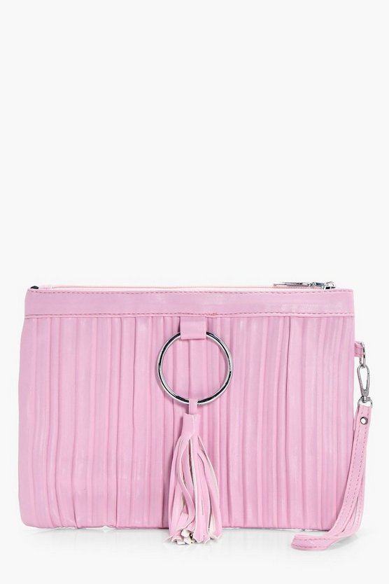 Heather Pleated Ring Detail Clutch Bag