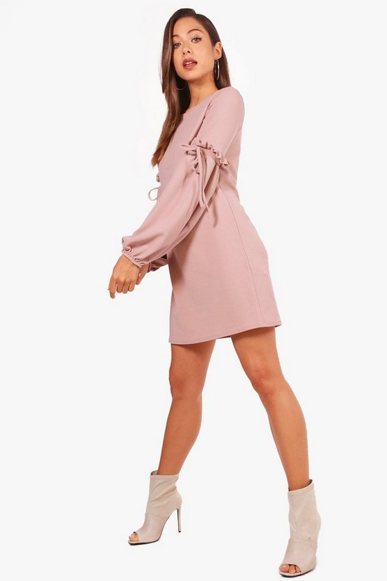 Tie Balloon Sleeve Shift Dress