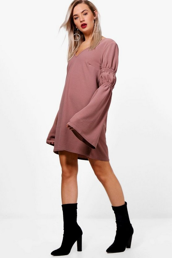 Shirring Balloon Sleeve Shift Dress