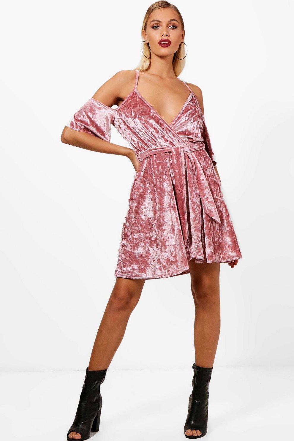 d915d92e8f7b Cold Shoulder Velvet Skater Dress   Boohoo
