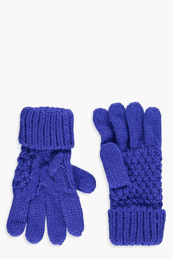 Knitted Cable Glove, Кобальтовый, Женские