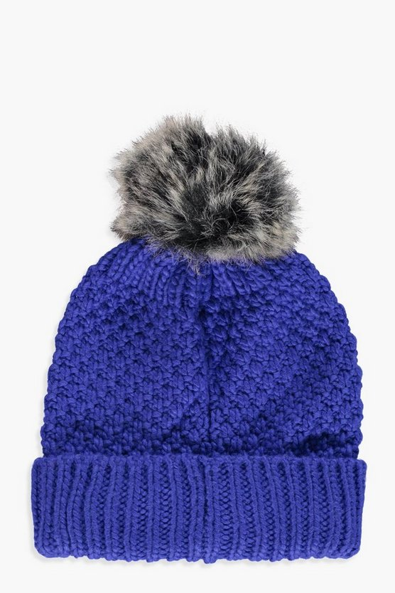 Shani Cable Knit Faux Fur Beanie