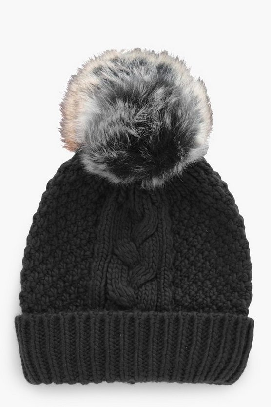 Maya Cable Knitted Faux Fur Beanie