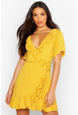 Wrap Polka Dot Print Frill Detail Tea Dress, Mustard