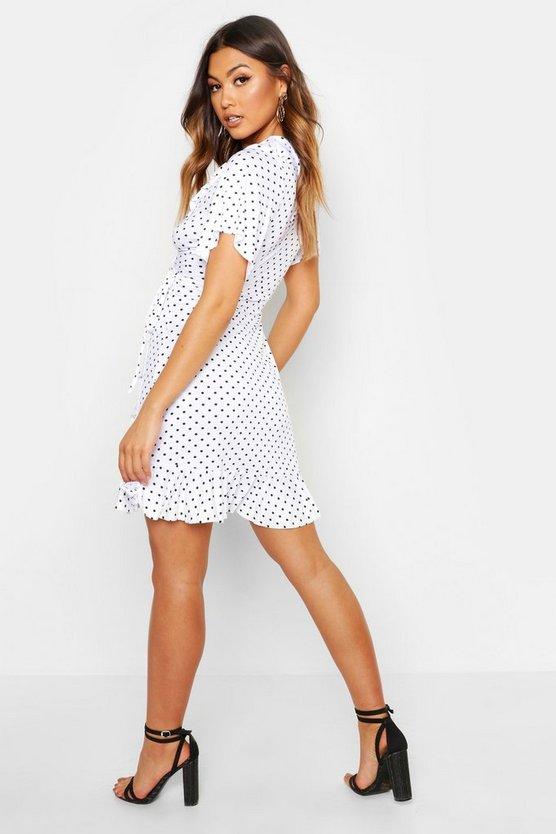 Wrap Polka Dot Print Frill Detail Tea Dress