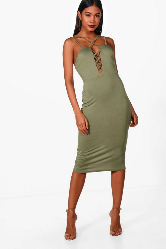 Frankie Lattice Strap Front Midi Dress, Khaki, MUJER