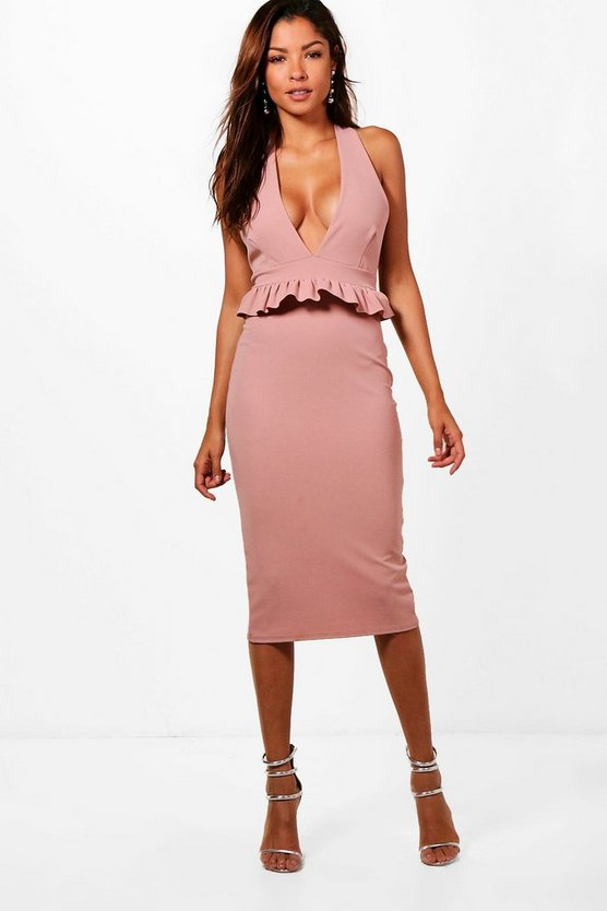 Womens Rose Halter Frill Waist Detail Midi Dress