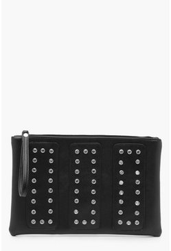Panelled Diamante Clutch Bag, Black, Donna