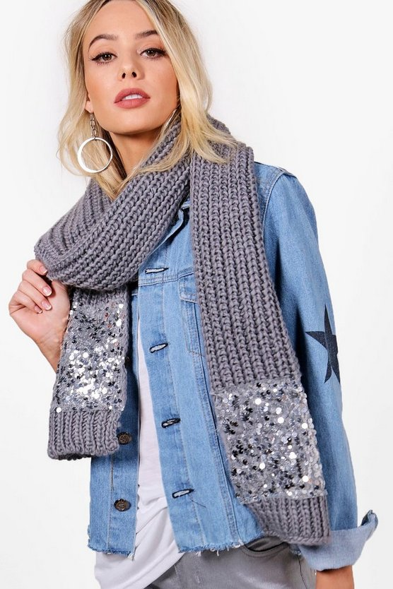 Michelle Sequin Border Scarf