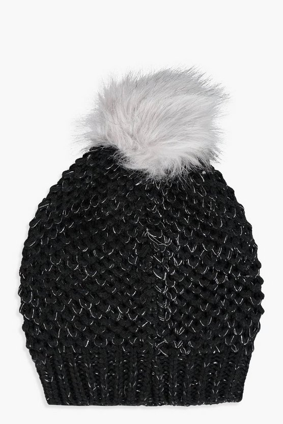 Womens Black Frey Diamante Contrast Pom Beanie
