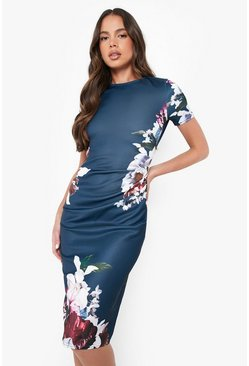 Floral Pleat Detail Midi Dress, Navy, Donna