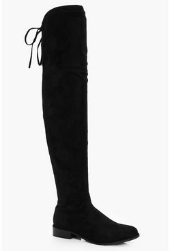 Womens Black Flat Over the Knee Boots