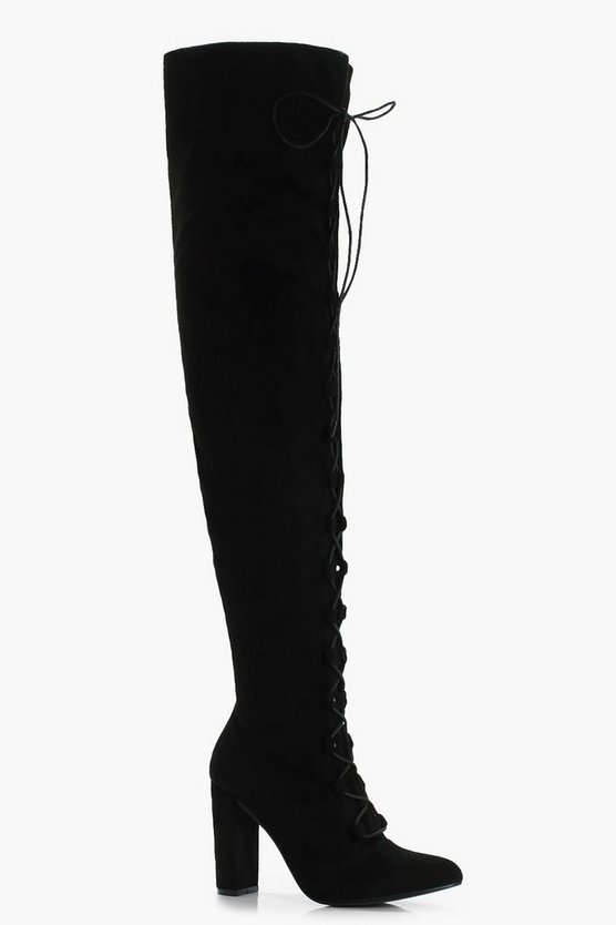 Kara Lace Up Front Round Toe Over Knee Boots