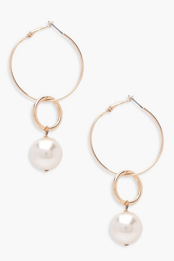 Womens Gold Jess Layered Hoop And Faux Pearl Earrings