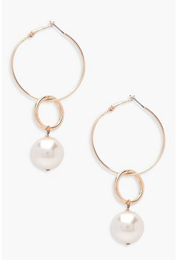 Jess Layered Hoop And Faux Pearl Earrings, Gold, Donna