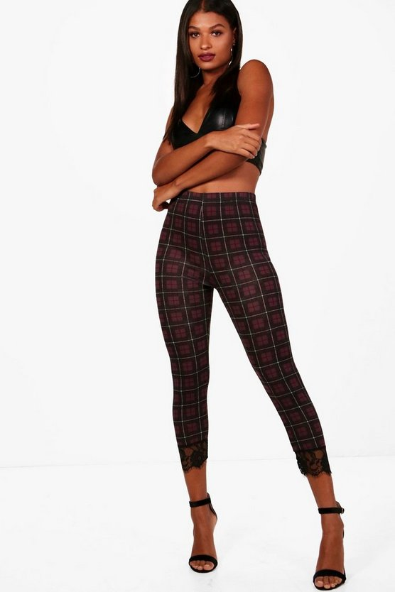 Lea Highwaist Tartan Lace Trim Leggings