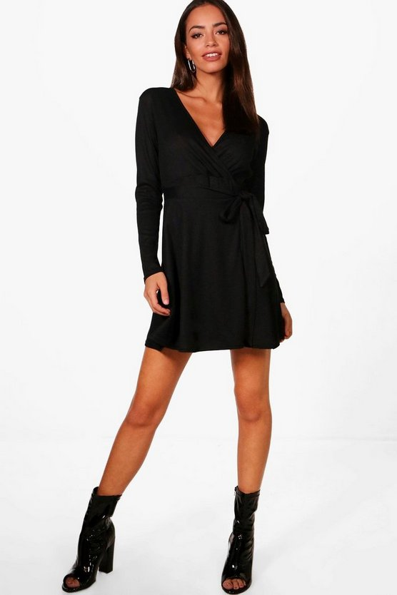 Ribbed Wrap Front Long Sleeve Skater Dress