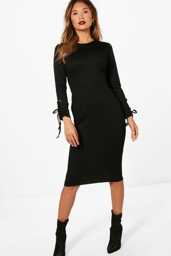 Slinky Rib Long Sleeve Eyelet Midi Dress