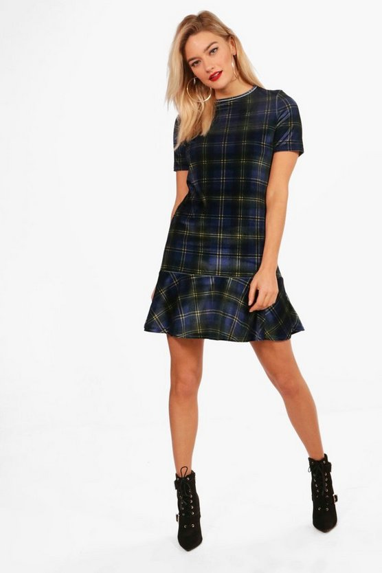 Cap Sleeve Drop Hem Shift Dress