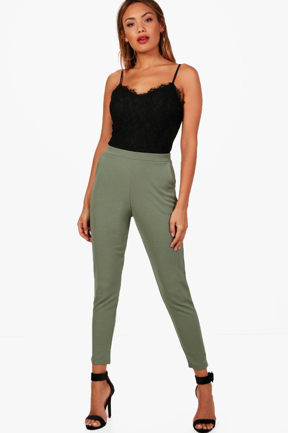 Crepe Skinny Super Stretch Trousers green ash zPwvSpwxq