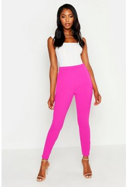 Womens Hot pink Basic Crepe Super Stretch Skinny Trousers