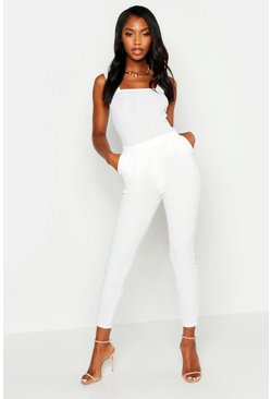 Ivory Basic Crepe Super Stretch Skinny Trousers