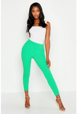 Womens Leaf green Basic Crepe Super Stretch Skinny Trousers
