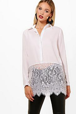 Daisy Eyelash Lace Trim Long Sleeve Shirt
