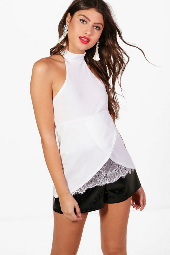 Wrap Front High Neck Cami
