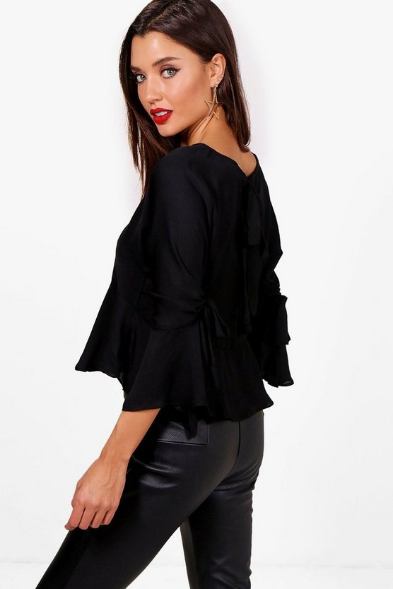 Ruched Sleeve Woven Tie Back Blouse