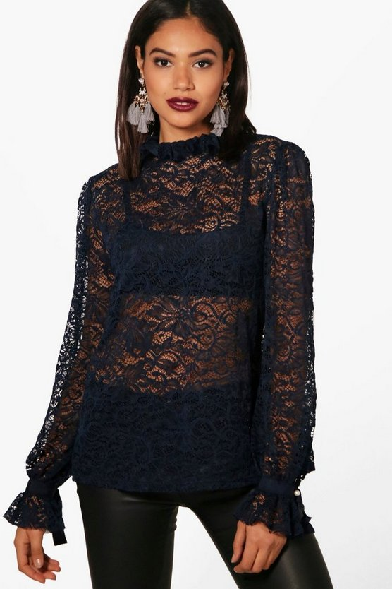 Sara High Neck Lace Pearl Button Blouse