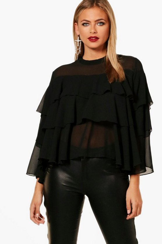 Rachael Tiered Ruffle Woven Blouse