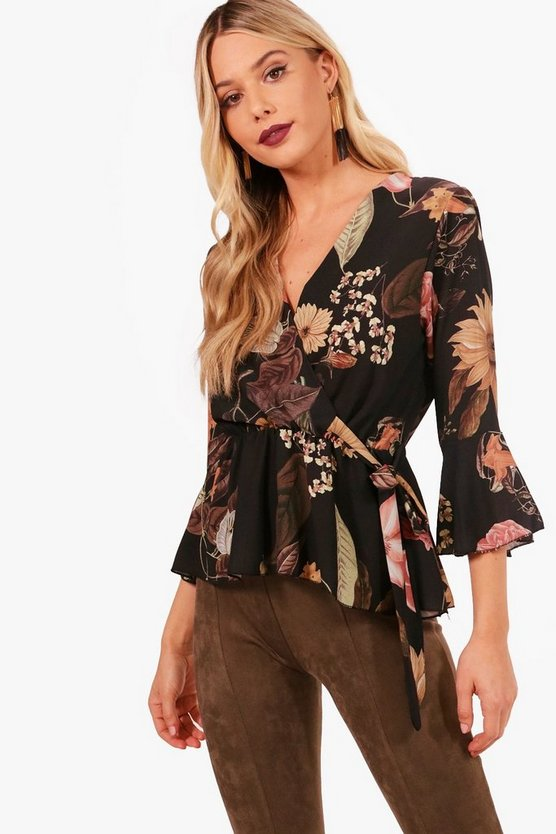 Floral Wrap Tie Side Blouse