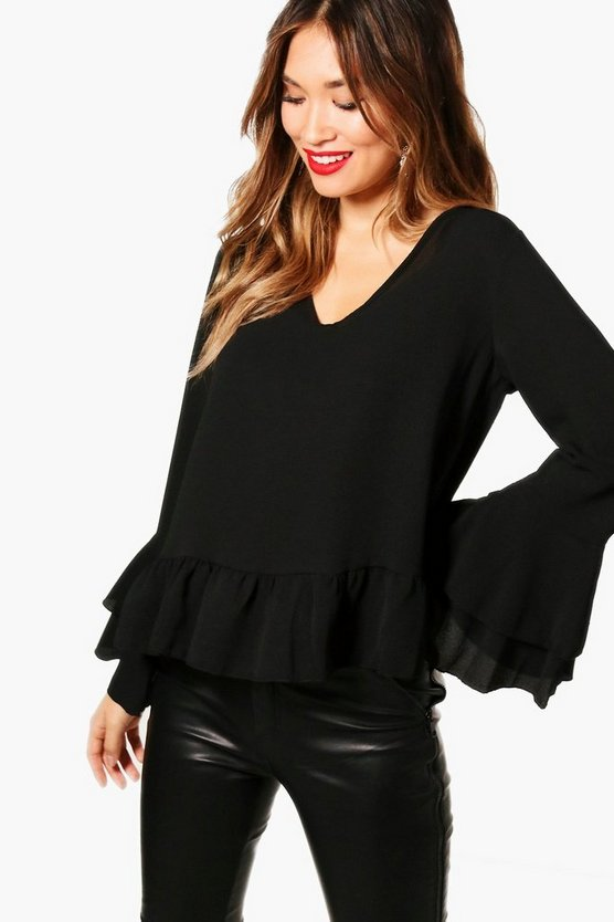 Womens Ruffle Hem Flare Sleeve Top