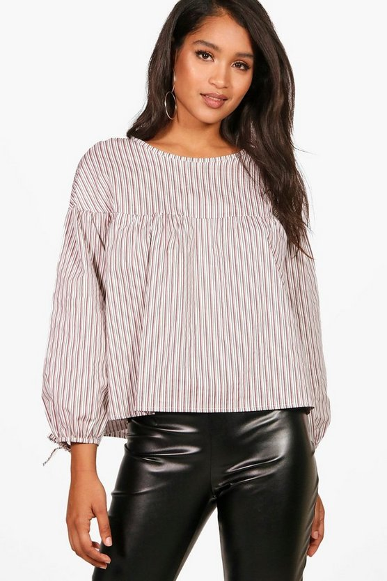 Stripe Woven Balloon Sleeve Top, Ягодный, Женские