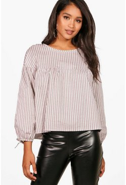 Womens Berry Stripe Woven Balloon Sleeve Top
