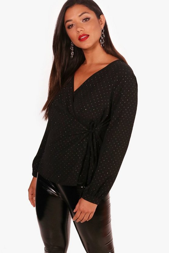 Metallic Spot Print Wrap Blouse