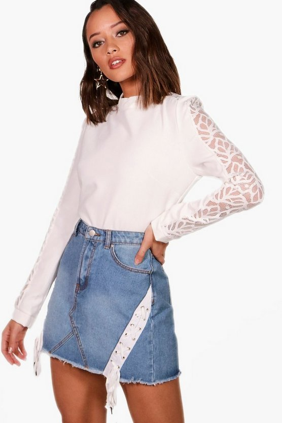 Lace Insert Sleeve Top