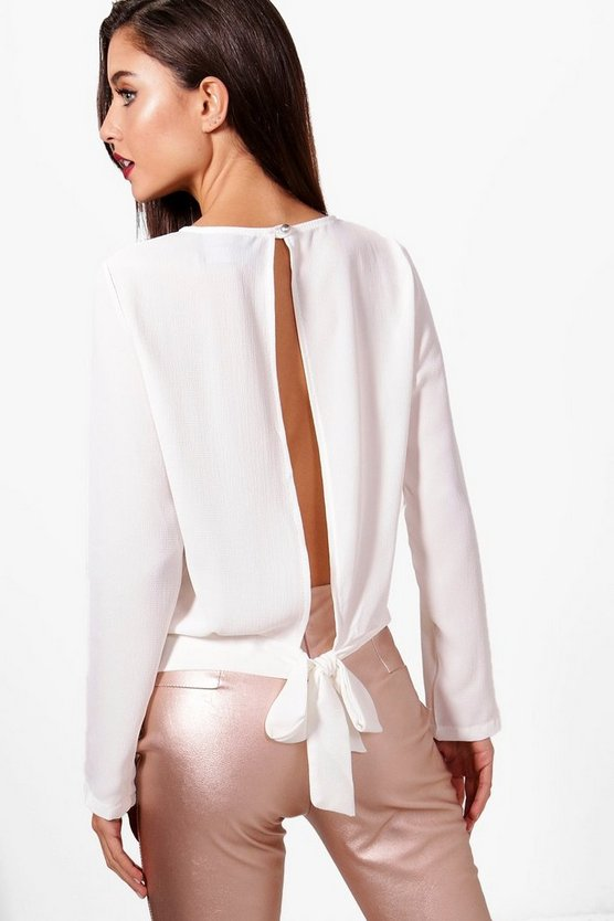 Alexis Pleat Front Open Back Top