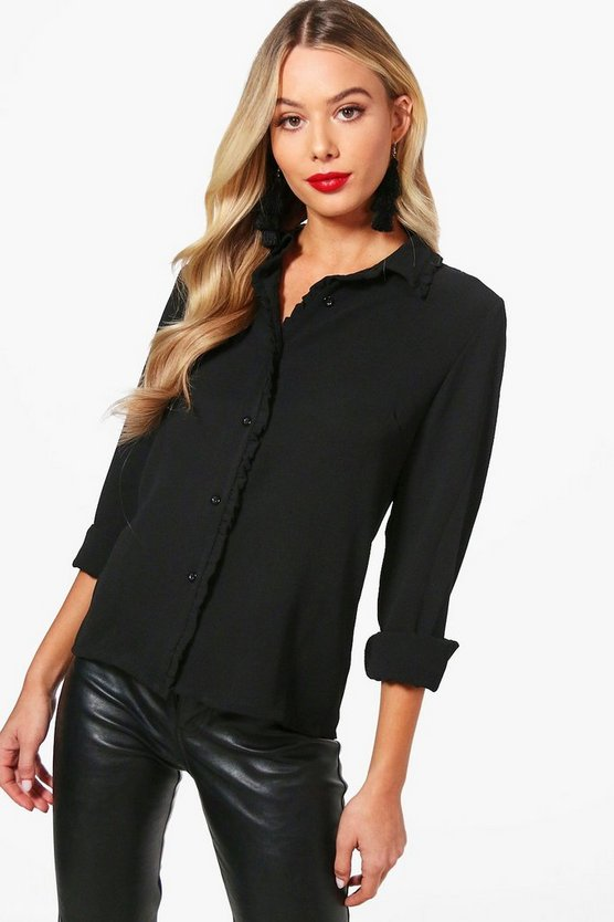 Ruffle Front Button Shirt