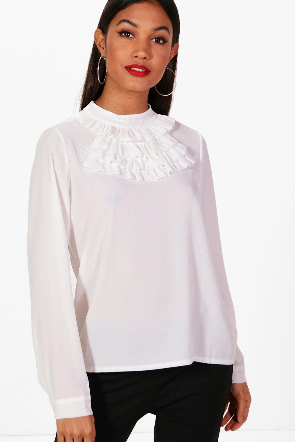 971e1e870c307 High Neck Ruffle Collar Blouse. Hover to zoom
