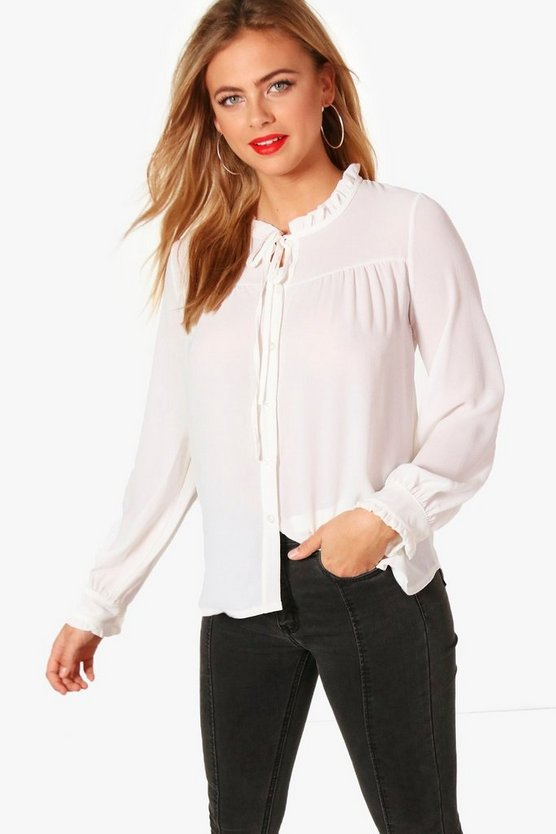 Tie Neck Ruffle Detail Shirt