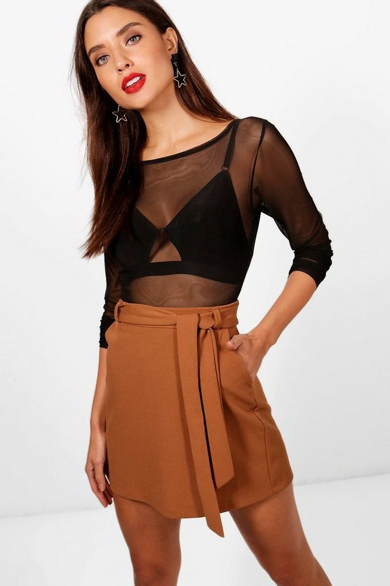 Crepe Pocket Tie Waist Mini Skirt