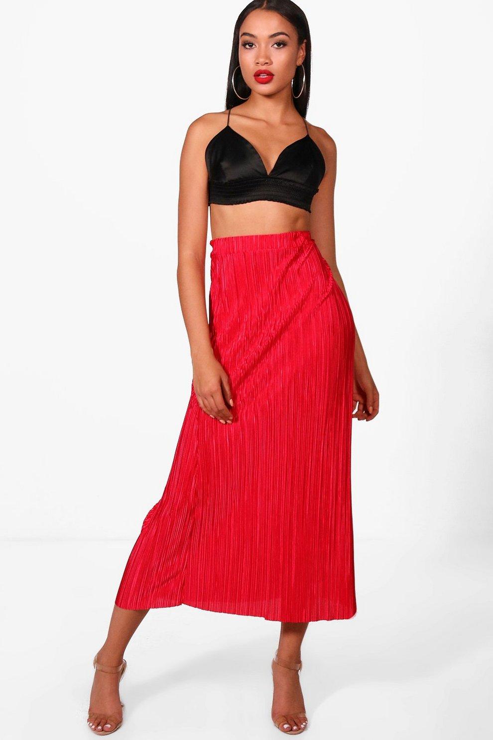 a67015a58c Pleated Crinkle Midaxi Skirt | Boohoo