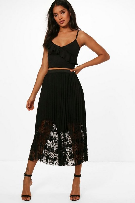 Womens Black Anabelle Pleated Lace Hem Midi Skirt